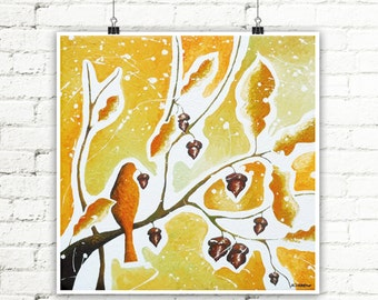 Bird Print, Brown Print Fall Leaves, Oak Leaf Fall Art Print, Autumn Wall Art, Fall Wall Art, Autumn Art