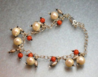 freshwater pearl, coral, hill tribes silver and sterling silver bracelet