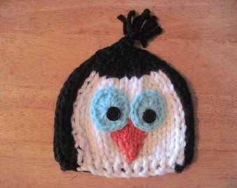 Penguin hat - hand knit - newborn to adult size - photo shoot prop - gift idea - boy girl teen adult sizes
