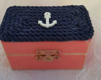 Coral and Navy Beachy Coastal Nautical Shabby Chic Rustic Wedding Ring BOx Gift Box Trinket Box Wedding Decor