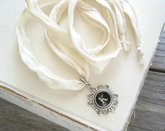 Typewriter Key Necklace. Letter K Necklace. Vintage Typewriter Key Jewelry. Long Boho Sari Silk Ribbon Necklace. Upcycled Eco Friendly Gift.