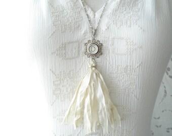 Typewriter Key Necklace. Letter D Necklace. Vintage Typewriter Key Jewelry. Long Sari Silk Tassel Boho Beaded Necklace. Eco Friendly Gift.