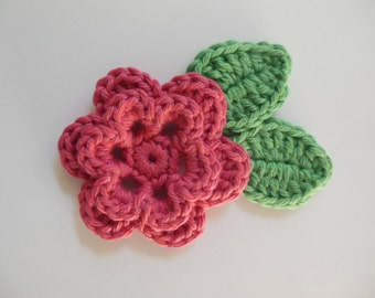 Crocheted Flower with Leaves - Rose Pink and Apple Green - Cotton Yarn - Crocheted Flower and Leaf Appliques