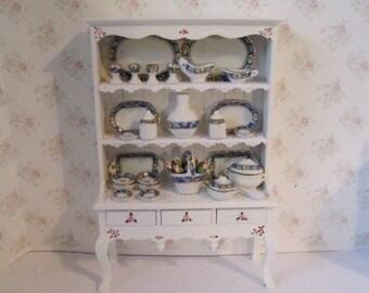 Dollhouse Dresser,dining room,  Filled dresser, china,  White dresser, hutch, furniture,  twelfth scale, a dollshouse miniature