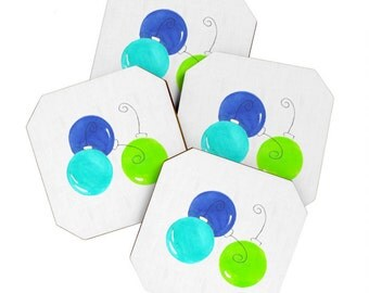 Blue and Green Holiday Coaster Set