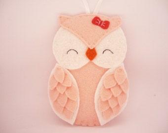 Felt Christmas Ornament - owl baby girl  Christmas Ornament