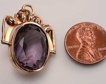 Late Victorian Watch Fob, Pendant, Spinner:  Fully faceted AMETHYST gemstone set into hallmarked 14kt gold