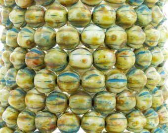 6mm Opaque White Picasso with Blue Patina Wash Czech Glass Melon Beads - Qty 25 (BW176)