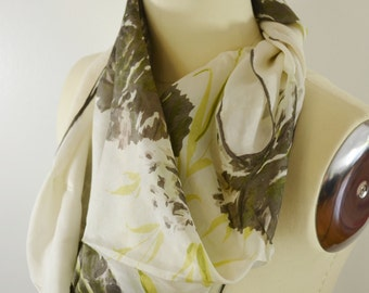 Vintage Women's Scarf Pretty Ink-like Flowers in Warm Gray with Yellow and Green Leaves