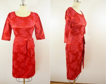 on sale Vintage Red 1950s SATIN BROCADE Party Wiggle Dress Short Sleeve Alfred WERBER St. Louis Size Small