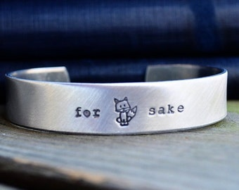 Fox Bracelet - Stocking Stuffer - For Fox Sake - Gifts Under 25 - Under 50 - BFF Gift - Sister Gift - Looks Like Silver