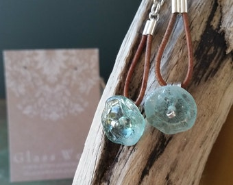Leather and Sterling Silver Earrings with Teal Glass Bead 164e