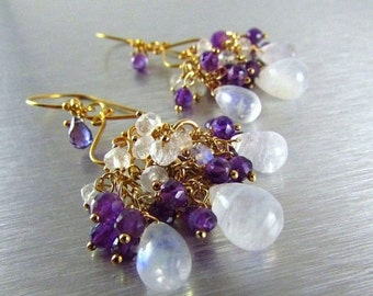 End Of Summer Sale Amethyst and Moonstone Gemstone Wire Wrapped Chandelier Earrings