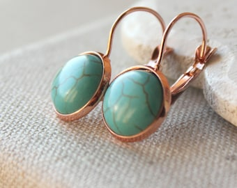 Turquoise Earrings Gold Turquoise dangle Earrings PIERCED or CLIP Turquoise Jewelry Simple hanging Rose Gold Turquoise leverback earrings