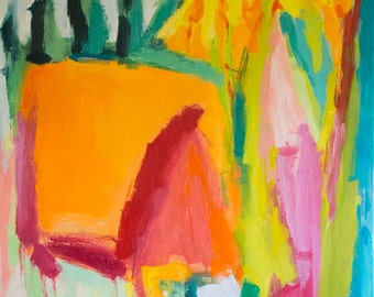 Cannas GICLEE ART PRINT 11 x 17 abstract floral gardens orange yellow acid green pink