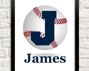 Boys Wall Art, Baseball Theme Nursery, Baby Boy Nursery Decor, Custom Name Print, Personalized Nursery, Sports Letter Wall Art, Boy Wall Art