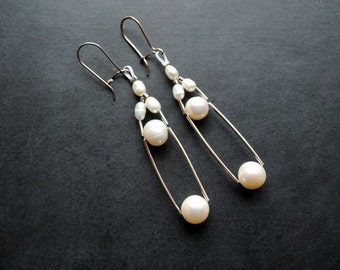 Earrings - Contemporary Pearls - Fresh water pearls, silver , modern, unique, art to wear, ooak, contemporary- by Schneider Gallery