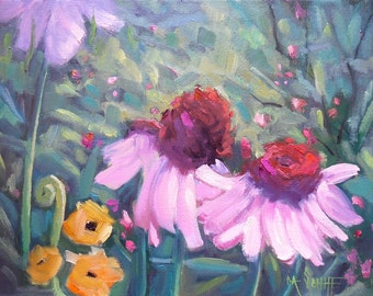 Floral Landscape Canvas Giclee Print, cone flower painting, free shipping, choose your size, ready to hang, no frame required