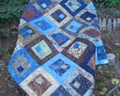 Reserved Listing for Nancy Blue and Brown Lap Quilt