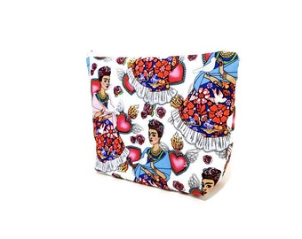 Frida Kahlo Pouch, Zipper Pouch, Cosmetic Bag, Toiletry Bag, Fabric Pouch, Gift for Her, Gift Under 20, Frida Kahlo with Heart