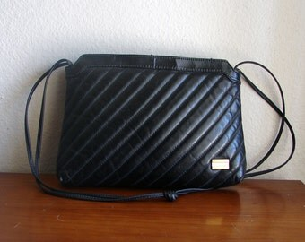 Diagonally Quilted Black MARYANN ROSENFELD Shoulder Bag