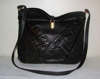 Vintage Black Pleated Eel Skin Shoulder Bag by SUNCO