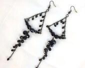 CUPID SALE Black Dangle Earrings Black Trapeze Earrings Wire Wrap Earrings Evening Statement Chandelier Earrings Black Earrings