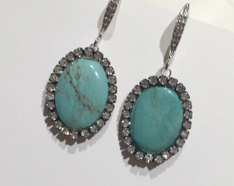 Turquoise Statement Earrings, Gemstone Slice Earrings, Pave Diamond Look Swarovski Crystal, AfricanTurquoise Earrings