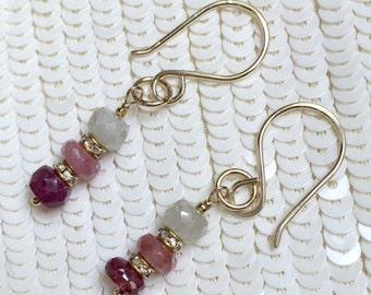 CUPID SALE xOx Umba Sapphire Dangle Earrings Minimalist Gold Fill Wire Wrap September Birthstone Earring Pink Pastel Sapphire Gemstone Petit