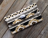 Tribal Diaper Clutch with Changing Pad - Gender Neutral - Black - Gold -Cream - Baby Shower Gift - Boy - Girl - Aztec Indian - Geometric