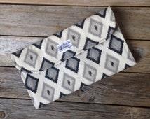 Black Diamond Diaper Clutch with Changing Pad - Gender Neutral - Grey - Gray - Baby Shower Gift - Boy - Girl - Ikat - Diamond - Geometric