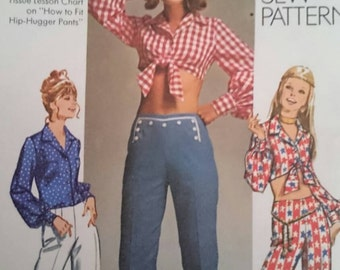 Retro Seventies Trousers and Top Sewing Pattern to fit 34 inch Bust Advantage size 12