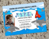 HAVE A BITE - Shark Themed Birthday Party Invitations - DIY - You Print