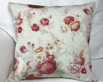 Red/cream floral pillow cover