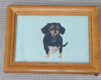 Dachshund Dog Portrait, Hand Embroidered, Framed