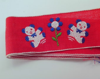 Vintage Teddy Bear Trim 34 inches Red white blue Flower