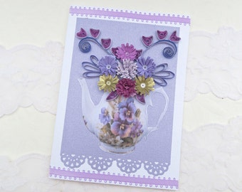 Quilled Card, Quilled -Teapot- Paper Quilling- Birthday -Tea Party Shower -Birthday- Thinking of You -Purple Lilac Paper Flower -Australia