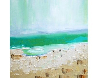 SALE abstract minimalist canvas, aerial SEA VIEW painting, modern artwork turquoise cream rust colors, ready to ship