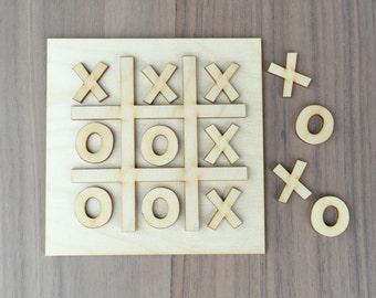 Laser Cut Wood XOXO Tic-Tac-Toe Craft Kit