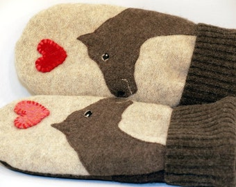 Recycled Wool Sweater Mittens Cream and Brown Horse Applique and Leather Palm Eco Friendly Upcycled  Size M/L