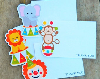 Big Top Circus Party - Set of 8 Assorted Circus Thank You Cards by The Birthday House