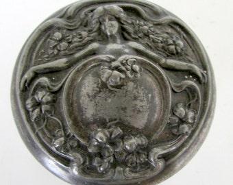 Antique Art Nouveau Dresser Jar with Embosssed Raised Woman Silver Lid Crystal Jar Vintage Dresser Jar