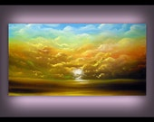 Original acrylic painting – sunset sunrise, sun sky cloud painting wall art living room décor blue yellow clouds warm tones fall colors