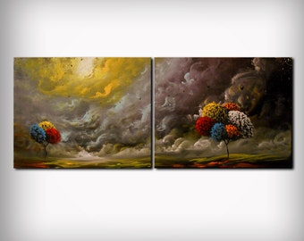 SALE moody abstract painting storm cloud summer rain tree painting large landscape 40""