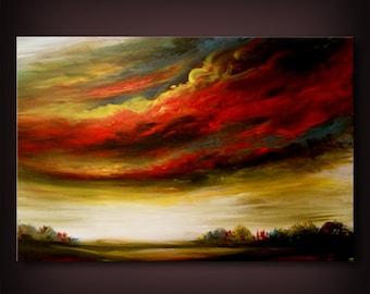 "folk art pop art surreal large original painting surreal abstract painting lollipop tree painting fantasy stars 36"" Mattsart"