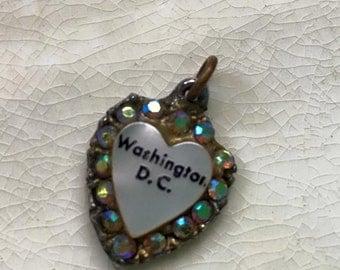 Vintage 60s US Capitol Washington DC Charm Heart Iridescent stones souvenir collectible jewelry-Valentine
