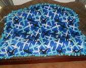 Planes Airplanes on Dark Blue Turquoise Back Tie Blanket No Sew Fleece Blanket Knot Tie Blanket No Sew Throw 48x60 Approximate size