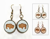 Buffalo Earrings - Laser Engraved Wood with Mermaid and Anchor Design (Choose Your Color)