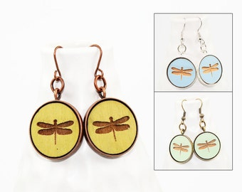 Dragonfly Dangle Earrings - Laser Engraved Wood (Choose Your Color)