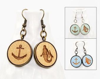 Sailor Earrings - Laser Engraved Wood with Mermaid and Anchor Design (Choose Your Color)